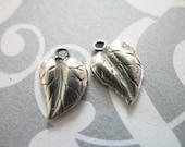 Shop Sale.. 2 pcs, 925 Sterling Silver LEAF Charms Pendants, SS Leaves, 11.5x8 mm, BALI Artisan, organic nature fall winter rustic