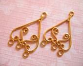 24k Gold Vermeil Chandelier Earrings Earwires,1 pair, 27x17 mm, Bali Artisan wholesale sale chand50
