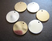 "Shop Sale.. 10 pcs, Silver Gold Brass BLANKS Discs Bulk, 15X15x1 mm, 5/8"" Round Circle, Thick 18 gauge ga, custom stamping solo"