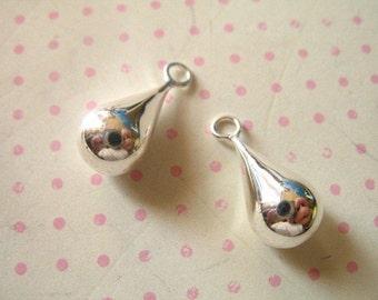 Shop Sale... 1  5 10 pairs, 925 Sterling Silver TEARDROP Charms Pendants Earring Drops Dangles, 18x8 mm, LARGE.. artisan organic hp..td18