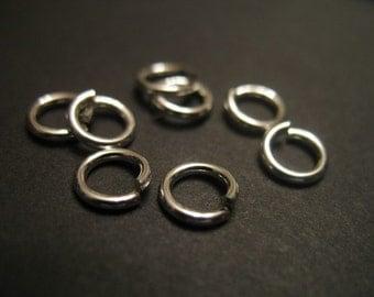 Shop Sale..Sterling Silver LOCKING Jump Rings Jumplocks, Open, 50 pcs Bulk, 4 mm, 20 gauge ga g, wholesale secure. sjr4mm. hp plain
