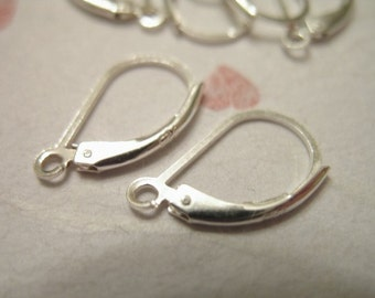 Shop Sale.. 10 Pairs, Sterling Silver Leverback Lever Back Earrings Earwires, 15X9 mm, secure  wholesale sale.. hp..