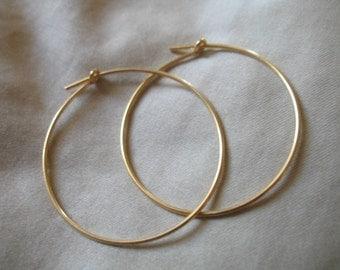 """Shop Sale.. 1 pair, 1.5"""" inch Gold Hoop Earrings Ear Wires, 24k Gold Vermeil, 1 1/2 in, Artisan add a dangles interchangeable ihm.p"""