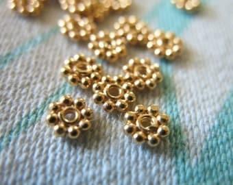 Shop Sale.. 50 pcs, 3.5 mm, 24k Gold Vermeil DAISY Spacers Beads, Flat, Granulated artisan organic wholesale spacer beads..vsb3.2