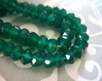 Shop Sale..1/2 Strand, GREEN ONYX Rondelles, Luxe AAA, 3.5-4 mm, Faceted .. may birthstone emerald green spring