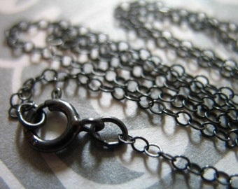 Shop Sale..1 pc, 16 or 18 inch, Oxidized Sterling Silver Chain - FINISHED Chain, Flat Cable Necklace Chain, 2x1.5 mm, done d66.d ox