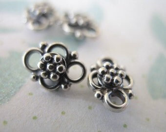 Sterling Silver Links CONNECTORS LINKS Chandelier Components Findings Stations, Set of 2, 9x6.5 mm, Artisan Daisy Flower wholesale sale..nc1