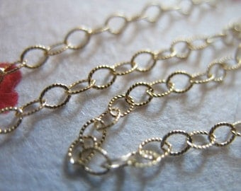 Shop Sale..14k 14kt Gold Fill Chain, Flat Cable Chain, Textured Necklace Chain, 3x2 mm, 3 feet Bulk Price Discount - SGF..SGF6..