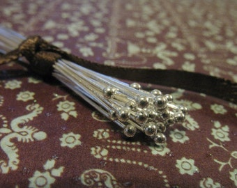 "Shop Sale..Sterling Silver Headpins Ball Head Pins, 26 gauge ga g, 100 pcs Bulk, 25 mm, 1"" in inch, wholesale sale Bali ..SHP26.25..hp,."