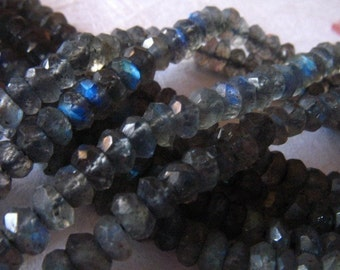 Shop Sale..LABRADORITE  Rondelles Beads, Faceted, Luxe AAA, 1/2 Strand, 3.5-4 mm, Gray, tons of blue flashes, brides bridal weddings true