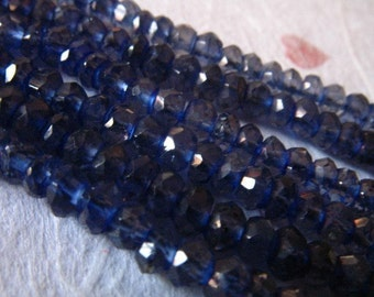 Shop Sale..IOLITE Water Sapphire Rondelles Beads, Luxe AAA , Full Strand, 3-4 mm, brides bridal september birthstone something blue