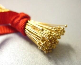 """Shop Sale..24k Gold Vermeil Head Pins Headpins Ball Pins, 26 ga g gauge, 100 pcs BULK, 50 mm, 2"""" inches in, wholesale sale VHP26.50"""