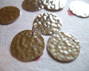 Shop Sale.. 10 pcs Bulk, Sterling Silver Blanks Discs, 14 mm, Hammered Discs, Texture Circle, personalize stamping discs BLANK15.5 blank13.5