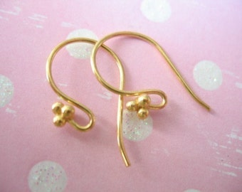 1 5 10 pair, 24k Gold Vermeil French Hook Earrings Earwires Bulk, 21x10 mm, BALI Artisan, three triple ball wholesale findings solo fhe.2