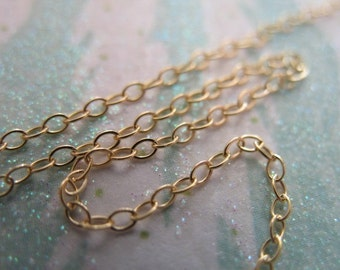 Gold Filled Chain, Flat Cable, 14kt 14k Gold Fill Chain, 1.4 mm, 15-25% Less Bulk, wholesale unfinished tgc sgf1