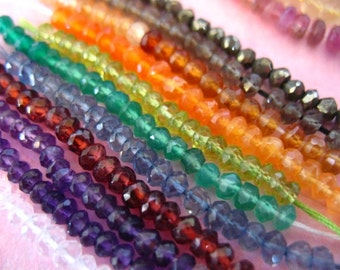 Shop Sale..Rondelles Sampler, BEST Selling, THREE Sets of 20 Semiprecious Rondelles, 3-4.5 mm, u pick, over 30 gemstones