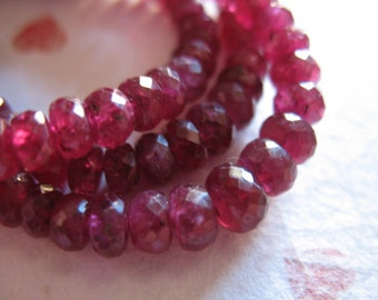Shop Sale.. 5 10 25 50 pcs, RUBY RONDELLES Beads, Faceted, Luxe AAA, 3.25-4 mm, Undyed Genuine, Cranberry Red, july birthstone, tr ox 34 nd