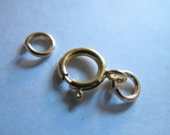 Shop Sale.. 1 5 10 20 50 sets, Spring Ring Clasp Sets, 14k Gold Filled Clasps, 6 mm, for small 1 2 mm chains.. wholesale discount solo cs