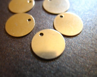 "Shop Sale,, 2 pcs, 9 mm GOLD Blanks Discs, 14k Gold Filled Round Circle Blanks, 3/8"" inch, 26 gauge Circle,  cougar town blank9 blank110"