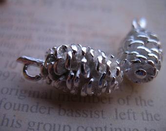 Shop Sale.. PINECONE Pine Cone Charms Pendants, 10 pcs Bulk, 20x10 mm, Silver Brass  3D Drops.. casted woodland organic rustic ..