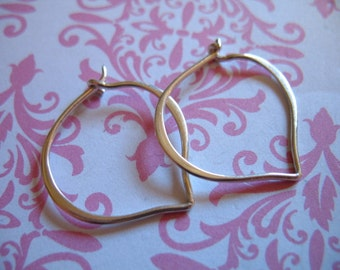 1-10 pairs, Sterling Silver LOTUS Petal Earrings Hoop Earrings / 25x22 mm, LARGE / artisan organic wholesale art hp ihm.LH  ih