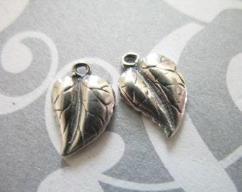Shop Sale..2 5  10 pcs, 925 Sterling Silver LEAF Charms Pendants, 11.5x8 mm, BALI Artisan, organic nature fall winter rustic