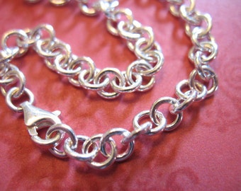 "Sale.. 1 pc, Sterling Silver Charm Bracelet Chain, FINISHED Chain, 5.0 mm ROLO, 6 6.5 7 7.5 8 8.5 9 9.5"" inch, Heavy, 18 gauge, done b100 hp"