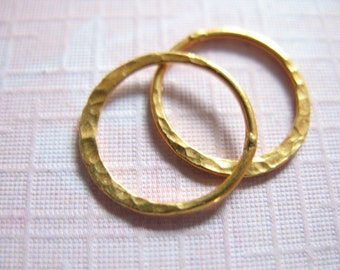 Shop Sale.. 2 pcs, 10 mm  Circle, 24k Gold Vermeil Links Connectors Eternity Rings, HALF HAMMERED Circle, TEXTURED, Artisan  n57.10 v