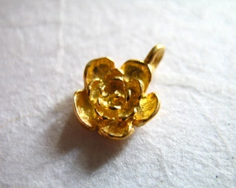 1 pc, Gold Rose Charms Pendants, 24k Gold Vermeil ROSE FLOWER, 12.5X9 mm, 3d artisan organic nature floral brides bridal wholesale findings