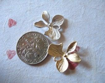 Shop Sale.. 5 10 25 pcs, ORCHID Links Pendants Charms Connectors, Matte Orchid Flowers, Silver or Gold, Medium, 15x15 mm, bridal orchidm