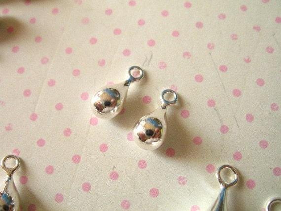 Shop Sale..Sterling Silver Teardrop Tear Drop Charms Pendants Earring Drops Dangles, SMALL, 1 Pair, 11x5 mm, td11
