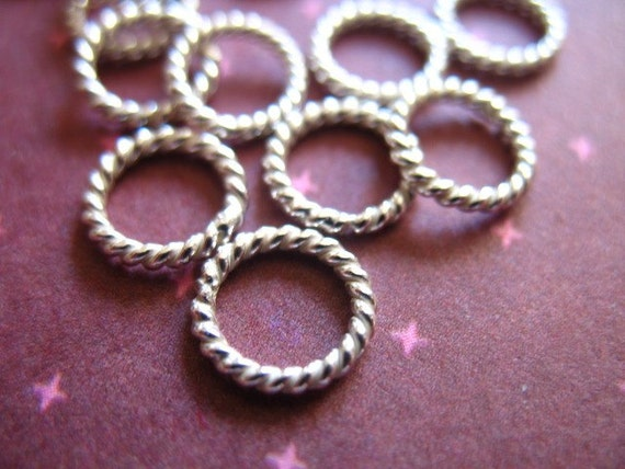 Shop Sale.. 50 pcs, Sterling Silver Jumprings Jump Rings, TWISTED CLOSED, 50 pcs Bulk, 7 mm, 18 gauge ga, Thick, wholesale SJR7mm.18 hp