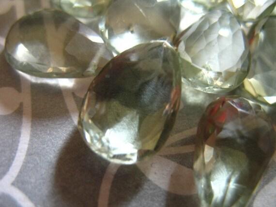 Shop Sale.. GREEN AMETHYST Pear Briolettes, Prasiolite Beads, Luxe AAA, Set of 4, 14-16 mm, Giant Seafoam Green, february birthstone