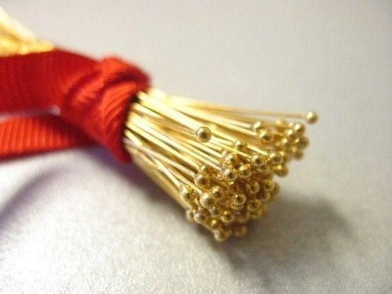"Shop Sale..24k Gold Vermeil Headpins Head Pins Ball, 28 gauge ga, 50 pcs BULK, 50 mm, 2"" inch, Bali artisan wholesale  VHP28.50."