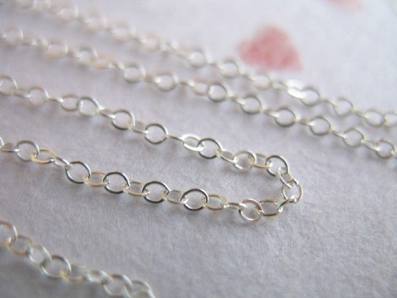 Shop Sale,, 10 20 50 100 feet Bulk Chain, Sterling Silver, Flat Cable Necklace Chain, 2x1.5 mm, 15-45% Less, wholesale delicate SS.S88-10 hp