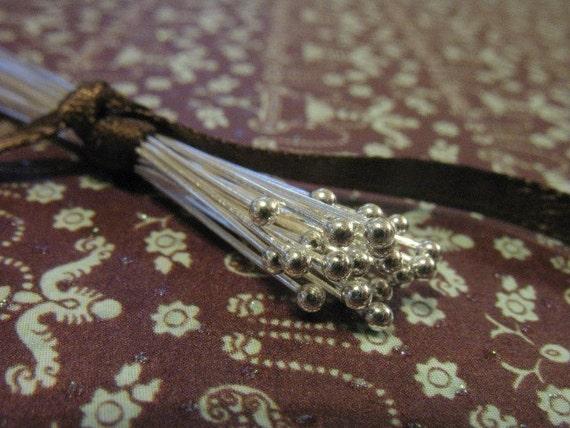 "Shop Sale..Sterling Silver Headpins Ball Head Pins, 26 gauge ga, 50 pcs Bulk, 25 mm, 1"" inch, Bali artisan, wholesale sale..SHP26.25..hp"