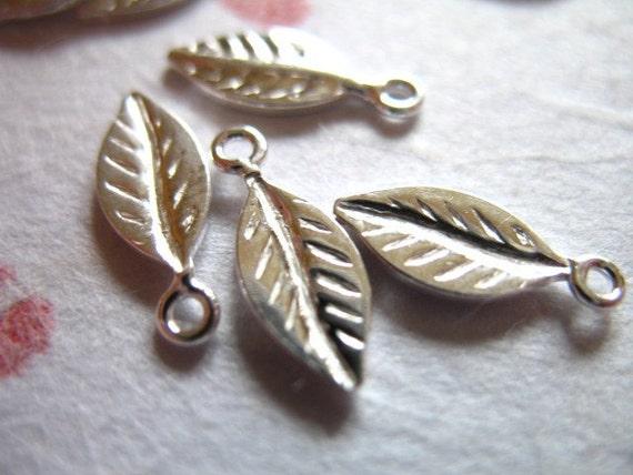 Shop Sale.. 25 50 100 pcs, Sterling Silver LEAF Blanks Charms Pendants, Bulk, 13.5x5 mm, organic nature woodland BLANKLEAF..leafss