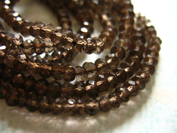 SMOKEY QUARTZ Rondelles, Faceted, Luxe AAA, Full Strand, 3-3.75 mm,  Dark Chocolate Brown..  neutral classic