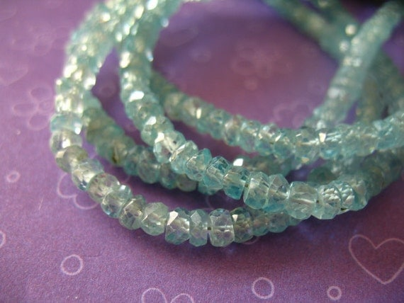 BLUE ZIRCON Rondelles, Luxe AAA, Set of 20 pcs, 3.5-4 mm, Aqua Blue ..bridal brides  december birthstone exotic