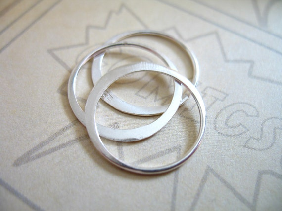 Shop Sale.. 10 25 50 pcs, Sterling Silver Links Connectors Circles Eternity Charm Pendant, Half Hammer Circle, 15 mm, n57.15 plain..hp solo