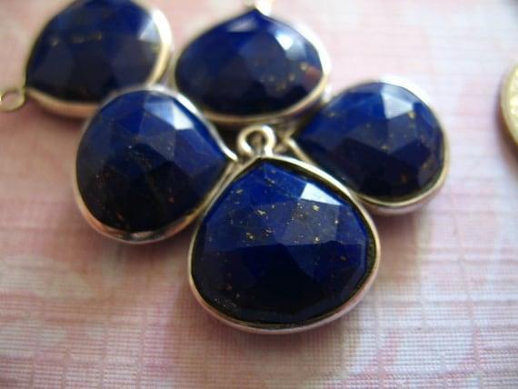 10% Off Sale.. LAPIS LAZULI Gemstone Connectors Pendants, Bezel Set Heart, Luxe AAA, 1 pc, 15-16 mm, 925 Sterling Silver Dark ..hp p10