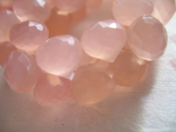 Soft Girley Ballet Pink CHALCEDONY Bead, Onion Faceted Briolettes, Set of 4, 8.5-10 mm, ..brides bridal.. spring summer