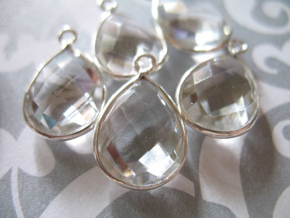 9% Off Gems Sale.. Gemstone Connectors Pendants, ROCK CRYSTAL Quartz, Bezel Set, 925 Sterling Silver, Luxe AAA, 1 pc, 17x11 mm, Pear.. wp7