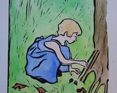 Girl Making a Fairy House