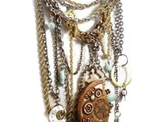 Steampunk Assemblage Bib Necklace - Chained in Time - InVintageHeaven