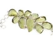 """RESERVED - HUGE Lemon Lime glass bracelet - Sterling silver Vintage Boho ethnic tribal - 2"""" Wide - InVintageHeaven"""
