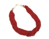 Red Beaded glass Torsade necklace - 24 strands, Woven clasp - Boho tribal gypsy - InVintageHeaven