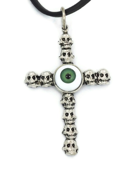 1980s Skull Cross with Green Evil Eye -  Pewter Pendant Necklace - Gothic Fantasy - Unisex- InVintageHeaven
