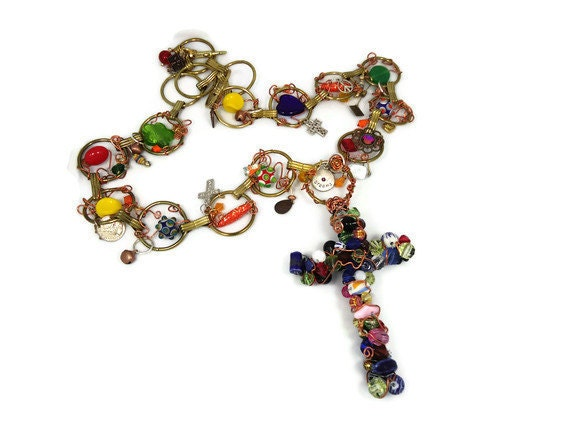 SALE Huge beaded cross necklace - Vintage assemblage - Bohemian Blessings - hippie chic - InVintageHeaven