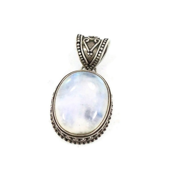 Moonstone sterling silver pendant - HUGE, large vintage stone - Boho tribal ethnic - InVintageHeaven
